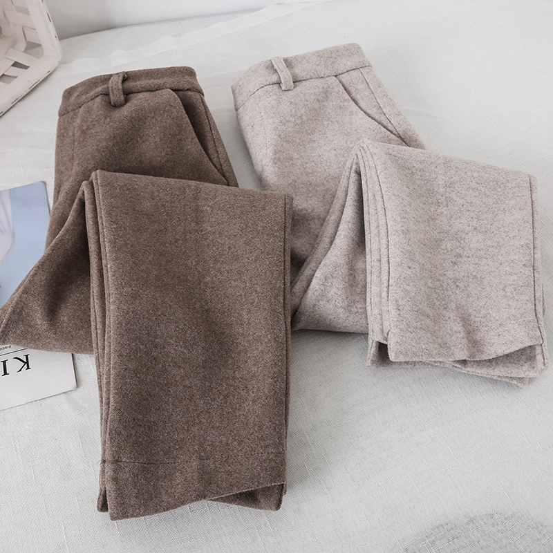 Spring Autumn 2019   Pants   Women Fold Cashmere   Wide     leg     Pants   Loose Casual Knit Long Trousers Wool Knitted   Pants   Fashion Bottoms