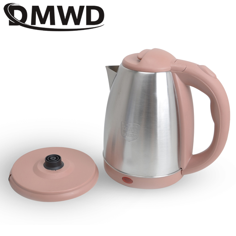 DMWD 110V Electric Kettle Travel Mini Hot Water Heating Boiler Cup Portable Stainless Steel Teapot Boiling Heater Pot EU US Plug