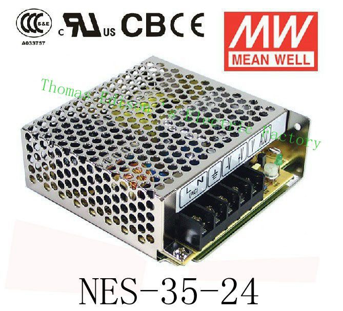 Original MEAN WELL power suply unit ac to dc power supply NES-35-24 35W 24V 1.5A MEANWELL meanwell 24v 60w ul certificated lpv series ip67 waterproof power supply 90 264v ac to 24v dc