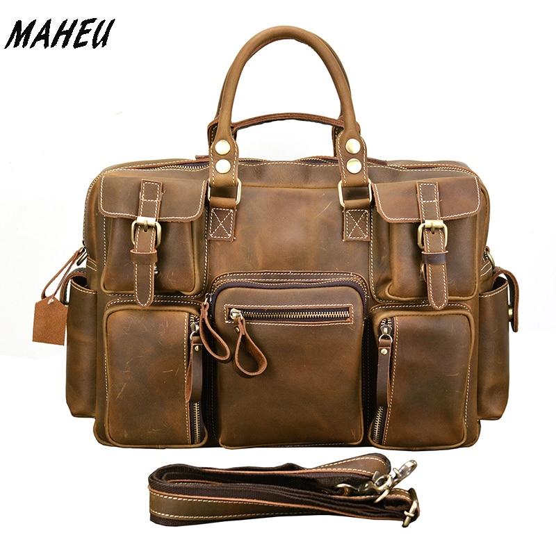 Vintage Men Crazy Horse Leather Briefcase Large Laptop Genuine Leather Business Bag Work Tote Travel Bag