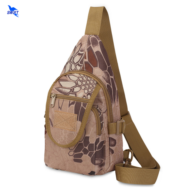 Tactical Military Mens Zipper Chest Packs Trekking Bag Jungle Travel Camouflage Waterproof Oxford One Shoulder Backpack Hot Sale