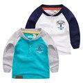 Bebê cor de manga comprida T-shirt 2017 nova primavera menino pequeno V gola do casaco fino Coreano T-shirt de lazer das crianças