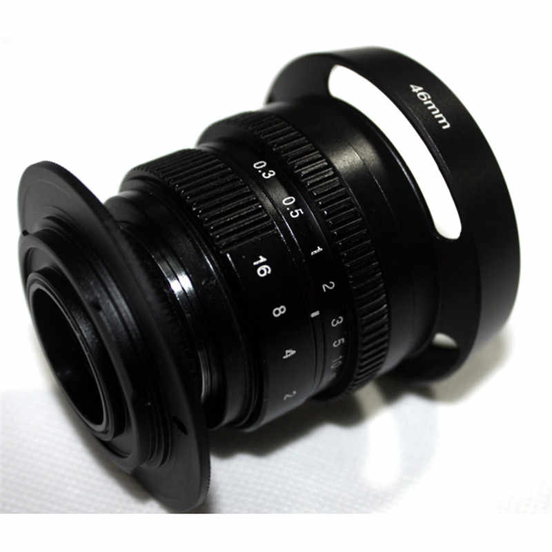 Mirroless 35mm f/1 6 33mm f1 6 for APS-C Camera for Fuji FX X-E2 + C-FX  adapter +camera lens hood+Macro Ring*2+ FX lens rear cap