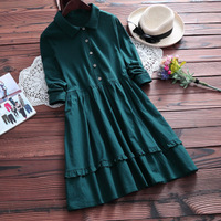 Autumn Vintage Retro Dress Women Clothing Turn Down Collar Harajuku Ruffle Solid Cotton Linen Female Vestido