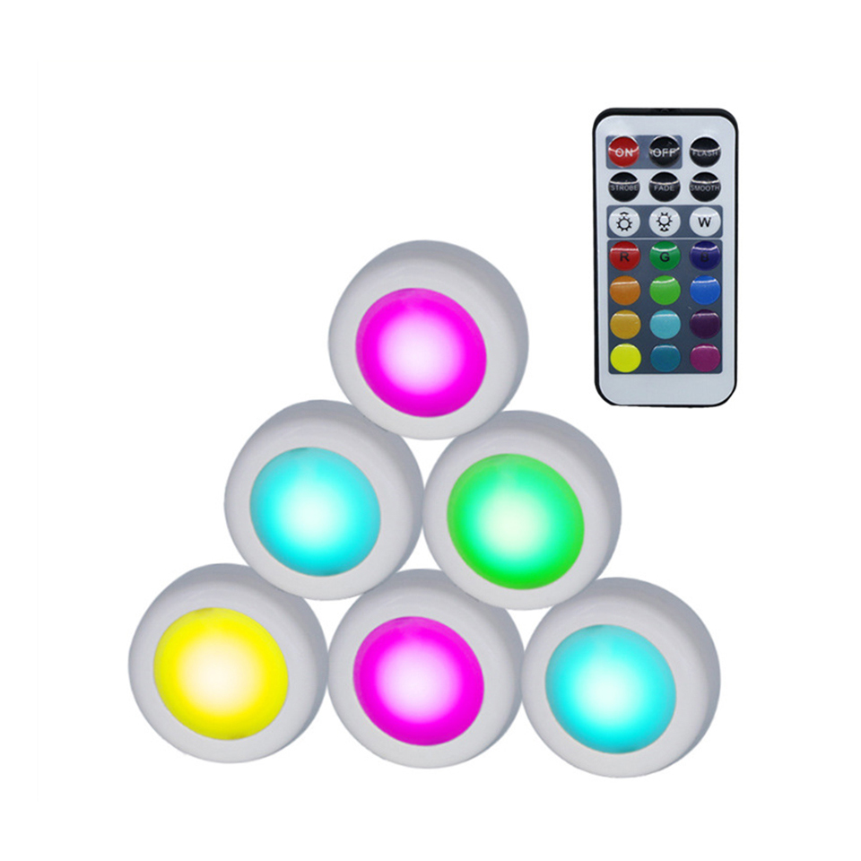 Xsky Rgb Led Puck Light With Remote Wireless Under Cabinet