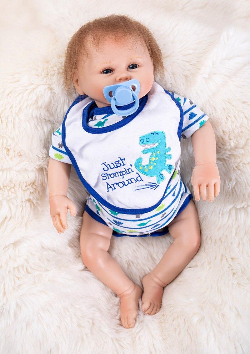 19 pouces bebe vivant Reborn silicone bébé poupées créatif reborn bébés réel à la recherche mignon bambin tissu corps anniversaire cadeau de noël