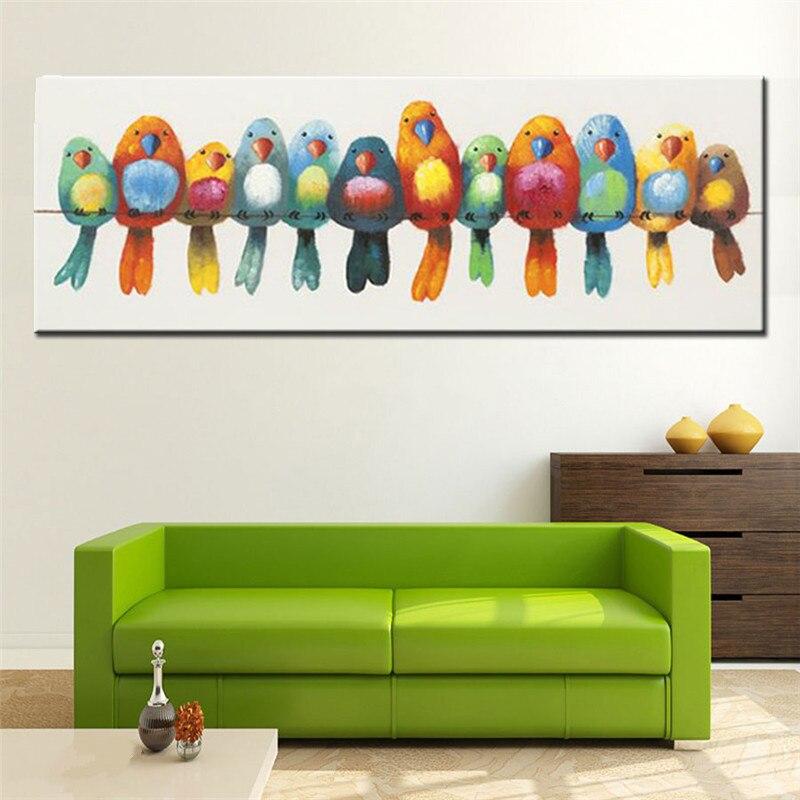 Ev ve Bahçe'ten Resim ve Hat'de Büyük Handpainted Soyut Karikatür Yağlıboya Tuval üzerine Modern Ev Dekor Duvar Sanatı El Yapımı Bıçak Renkli Kuşlar Resimleri'da  Grup 1