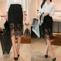 Etek Women Knee Length Lace Midi Pencil Skirts Fashion Saias Femininas 2017 New Black  Female Grunge Ladies Slim Office Workwear