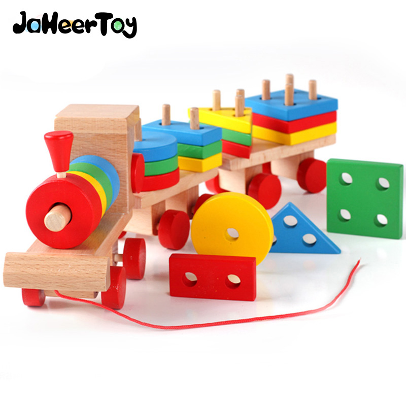 JaheerToy Baby Educational Wooden Toys for Children Train Pulling Toy Geometry Shape Montessori Teaching Aids Gifts jaheertoy montessori early childhood educational wooden toys geometric assembling blocks baby shape cognition teaching aid