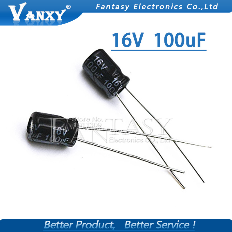 50PCS Higt Quality 16V100UF 5*7mm 100UF 16V 5*7 Electrolytic Capacitor