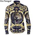 AlexNamgyal 2016 Camisas de Los Hombres de Esmoquin De Lujo Camisa de Marca Para Hombre Impresión Tigher Marca Casual Manga Larga Camisas de Vestir AL85