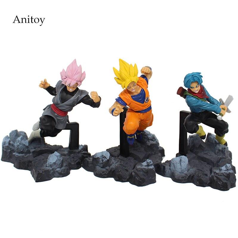 3pcs/set Dragon Ball Super Son Gokou Trunks Black Gokou PVC Figure Collectible Toy 13cm KT4078