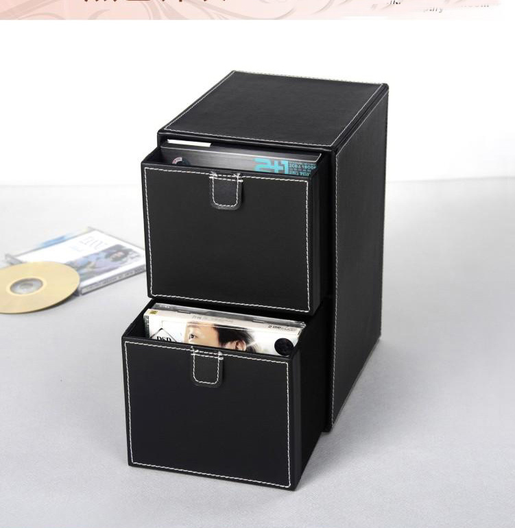 home 2-layer 2-drawer leather desk CD/DVD sundries container storage box case organizer holder black 227A