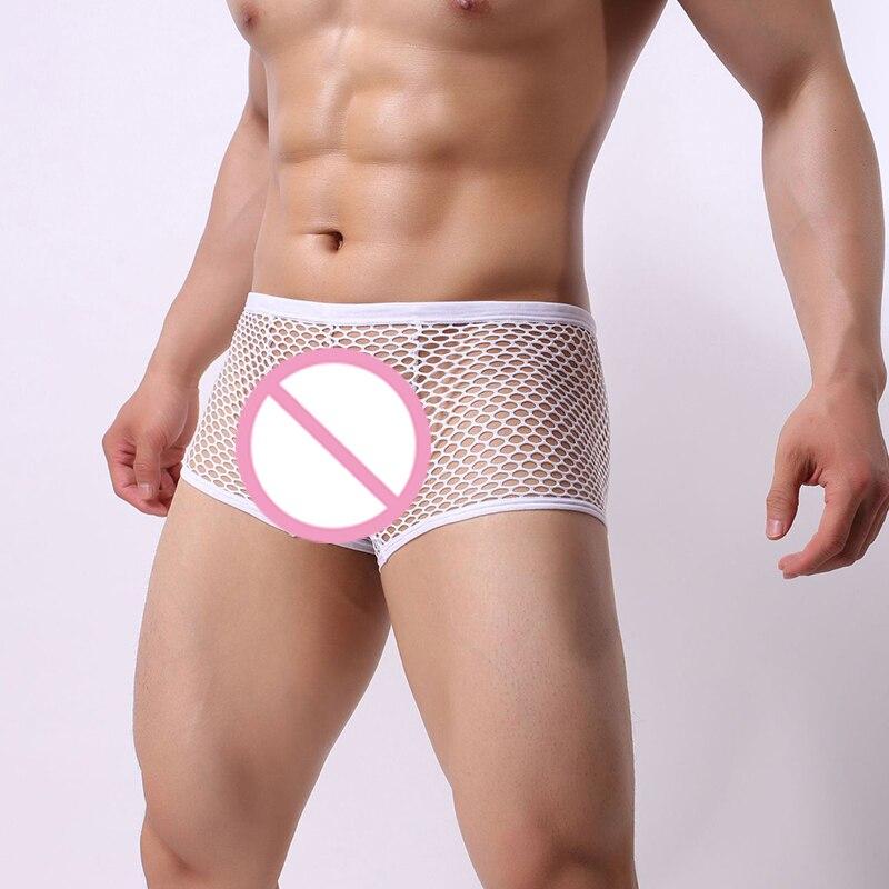 Sexy Mesh Underwear Men Fishnet Boxers Transparent Erotic Lingerie Breathable Underpants Trunks Boxer Panties Shorts Bottoms