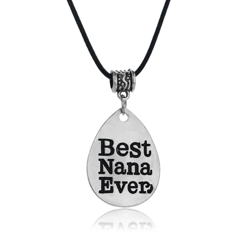 Gothic Leather Rope Best Nana Ever Pendant Necklace Grandmother