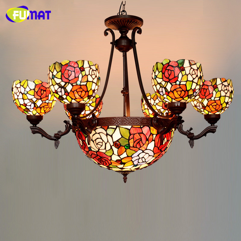 FUMAT Stained Glass Pendant Light Classic Glass Roses Shade Lightings For Living Room European Luxury LED Roses Pendant Light