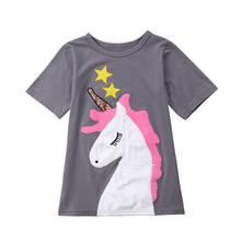 Kids Baby Girls Dress Unicorn short Sleeve Dress Wedding Party Dress Casual Cotton Dresses