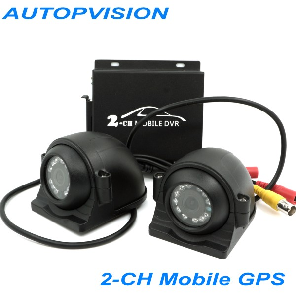 цена Mini 10v-32v CCTV 2 Channel Mobile Taxi Bus Vehicle Security DVR Motion Detect 2Ch Audio I/O Alarm Realtime with 2pcs camera
