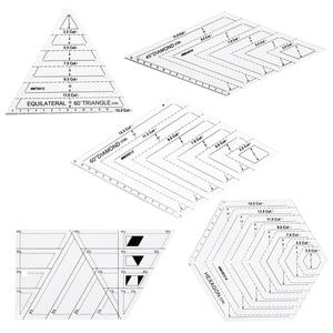 Image 1 - 5x Quilting Polygon Hexagon Shapes 바느질, 퀼팅 및 스크랩북 용 아크릴 템플릿 읽기 쉬운 표시