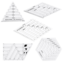 5x Quilting รูปหลายเหลี่ยมหกเหลี่ยมรูปทรงอะคริลิคแม่แบบสำหรับเย็บ,Quilting และ Scrapbooking เครื่องหมายอ่านง่าย