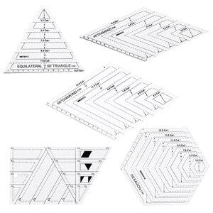 Image 1 - 5x キルティングポリゴン六角形状アクリルテンプレート縫製、キルティングやスクラップブッキング読みやすいマーキング