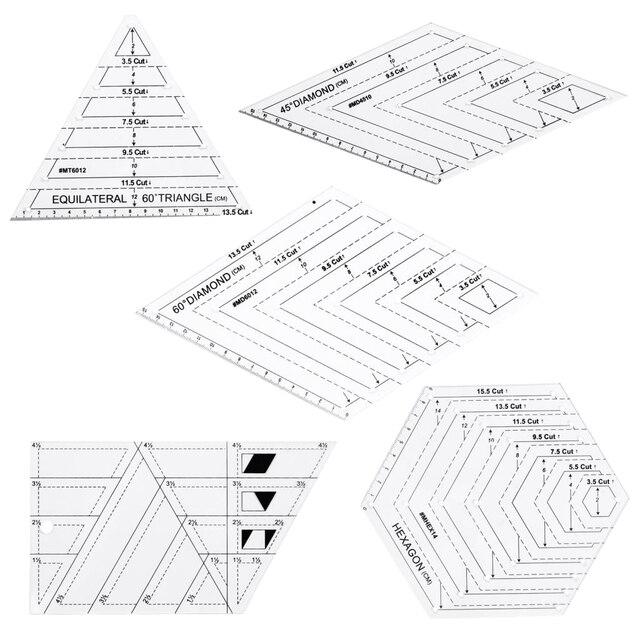 5x キルティングポリゴン六角形状アクリルテンプレート縫製、キルティングやスクラップブッキング読みやすいマーキング