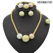 Yulaili New Dubai Jewelry Sets African Bridal Tricolor Sphere Crystal Necklace Earrings Bracelet Wedding Women Fashion Jewellery