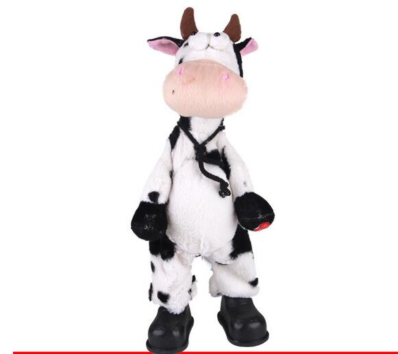 Staffed Animal 2018 Xmas Gift Shaking Head CowNew Plush Doll Kids Toys Party Birthday Gift ZL-05
