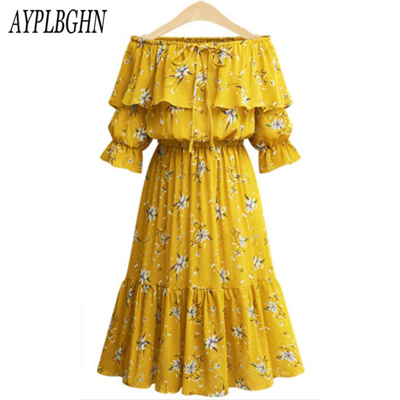 2018 Sexy Women Bohemian Party Dresses Summer Floral Print Dress Boho Slash neck Dress Beach Vestidos Robes