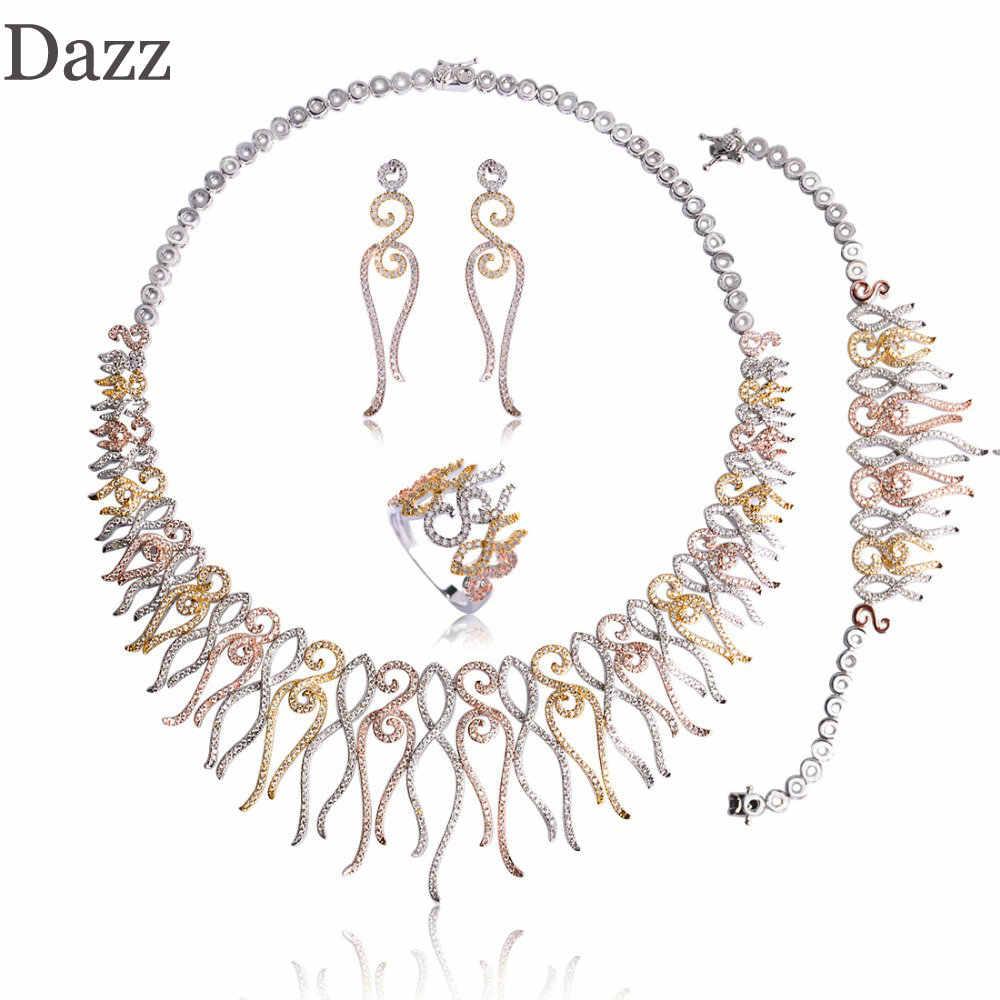 Dazz Bloemvorm Choker Ketting Armband Oorbellen Ring Messing Drie Tonen Kleuren Sets Vrouwen Meisjes Bruiloft Ornament Sieraden Set