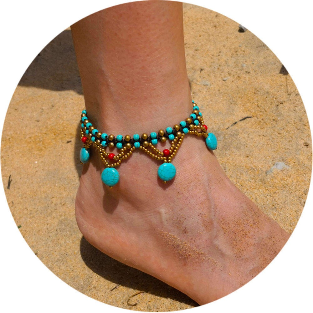 Artilady bohemia anklet bracelet chain foot jewelry for women stone beads summer beach jewelry Dropshipping