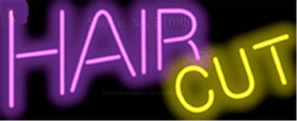 """Hair Cut Businese GlassTube leuchtreklame Handcrafted zeichen Licht Display Club Pub Shop store Geschäfts signage Schild 17 """"x 14"""""""