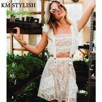 European Designer Forlove Haute Couture 2018 New Sexy White Lace Two Piece Hollow Out Ruffle Strap Mini Dress
