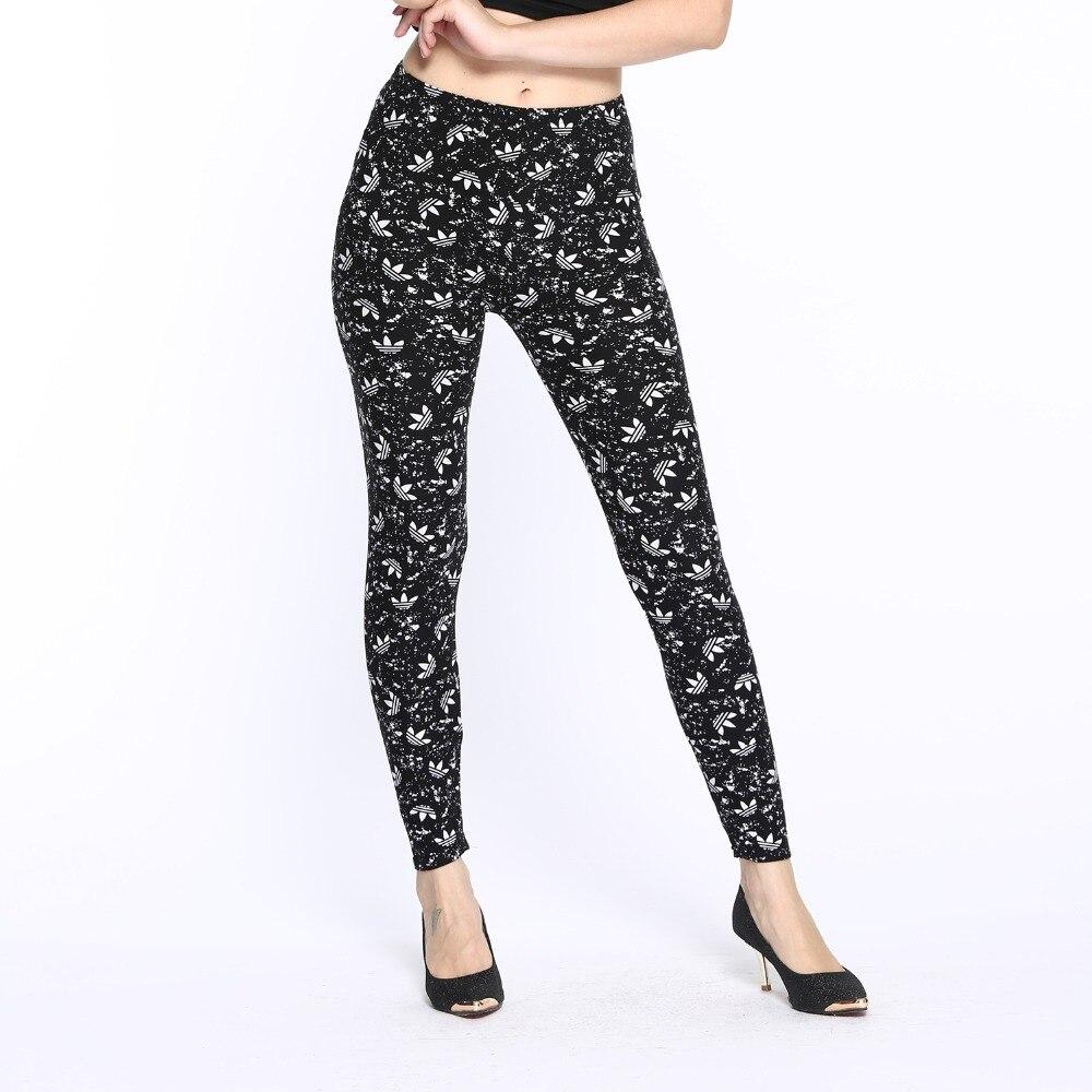 2018 New Digital Print Milk Silk Women Black Thin Clothing Workout Leggings Mid Ankle-Length Fitness Legging Pants Street Wear