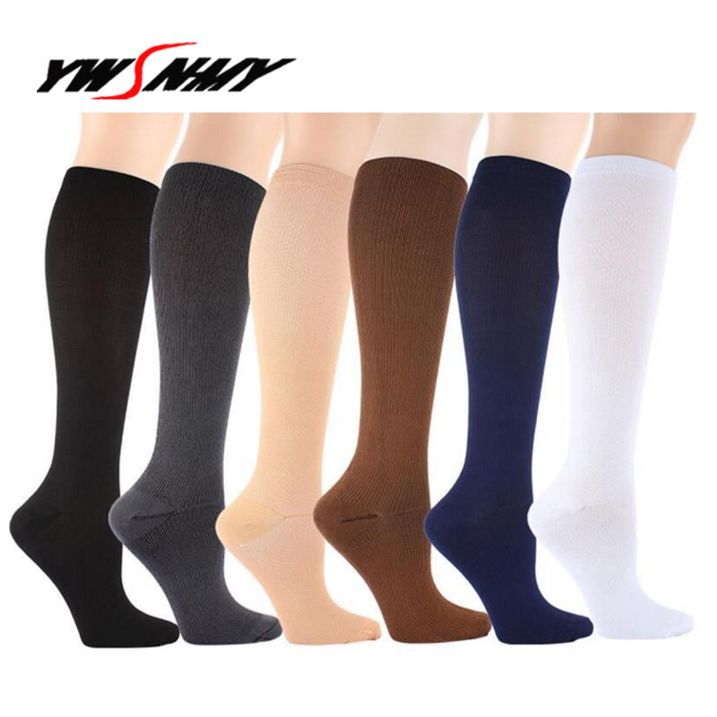 Compression Socks For Men Women Nurses Medical Graduated Nursing Travel Pressure Circulation Anti-Fatigu Knee High Sock 2pairs