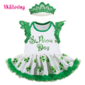 New Arrival St. Patrick Clothing for Children Baby Newborn Romper Dress for St. Patrick's Day Party Light Green Vestido Infantil