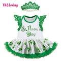 Nueva llegada st. patrick ropa para niños bebé recién nacido mameluco dress for st. patrick's day light party verde vestido infantil