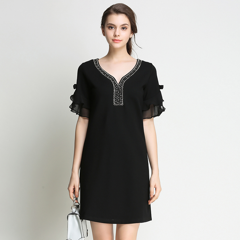 2017 New Summer font b Women b font Elegant Plus Size Bead Diamond Black Short Dresses