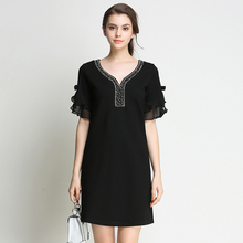 2017 New Summer Women Elegant Plus Size Bead Diamond Black Short Dresses For Lady Casual Short Sleeve Woman Clothing M-5XL