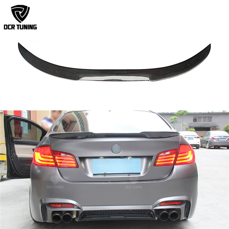 F10 Spoiler M4 Style For BMW F10 Carbon Spoiler 2010 - 2016 F10 M5 Spoiler Carbon Fiber Rear Trunk Spoiler car styling цены