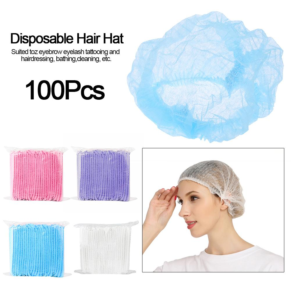 100PCS Disposable Hair Shower Cap Non-woven Dust-proof Sterile Hat For Tattooing Hairdressing Bathing Cleaning Supplies Hair Net