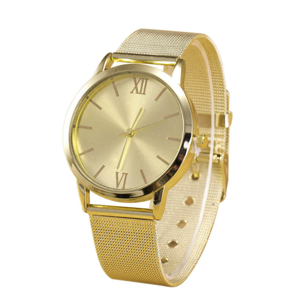 2016 New Women Casual Ladies Gold Stainless Steel Mesh Band Wrist Watch Dress Women Watches Relogio Feminino Clock  Hot Sale mance women men unisex watches gold stainless steel quartz wrist watch skull pirate quality relogio time clock 2016 hot sale