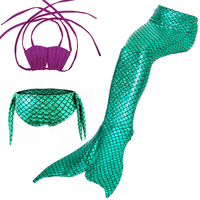 Girls Kids Sparkle Mermaid Tail swimsuit for Swimming Costume Pants+Purple Bra+Tail
