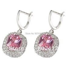 Pink Cubic Zirconia pendientes de plata plateó la joyería R465 Casual deportivo el nuevo producto Noble generoso navidad caliente regalo