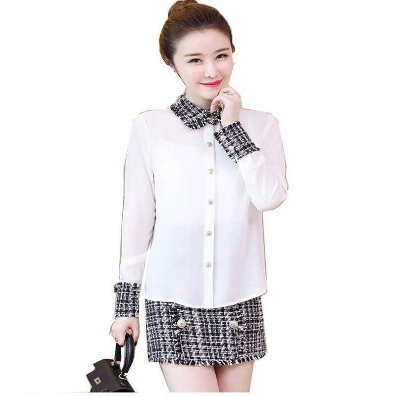 Version coréenne printemps automne contraste couleur mode Slim deux pièces ensemble à manches longues perle boucle chemise manteau élégant femmes costume