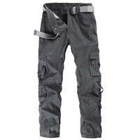 Brand Men's Cargo Pants with many pockets straight loose military trousers men cotton tactical pants tactical No Belt