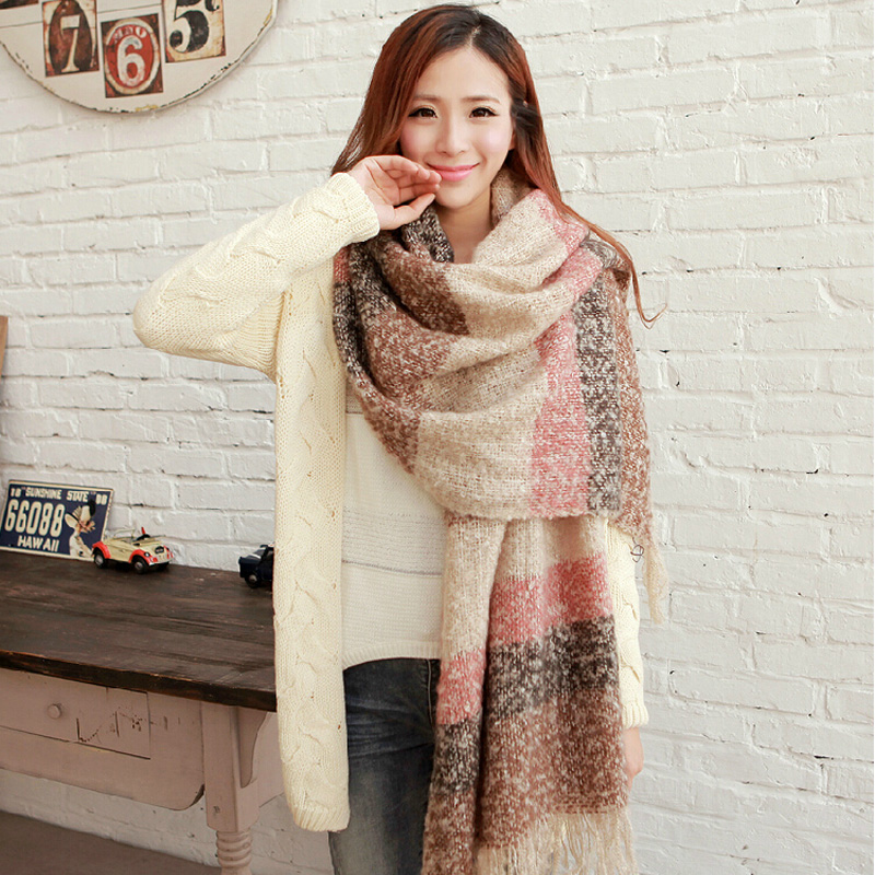 SELLWORLDER 2019 Women Winter Mohair   Scarf   Long Size Warm Fashion   Scarves   &   Wraps   For Lady Casual Patchwork Accessories