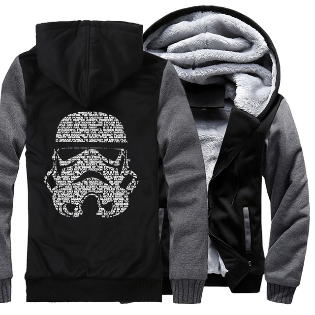 06e85dd79 men hoodies streetwear fashion sweatshirts hooded jackets coats man's hip  hop wool liner 2018 star war winter brand clothing man