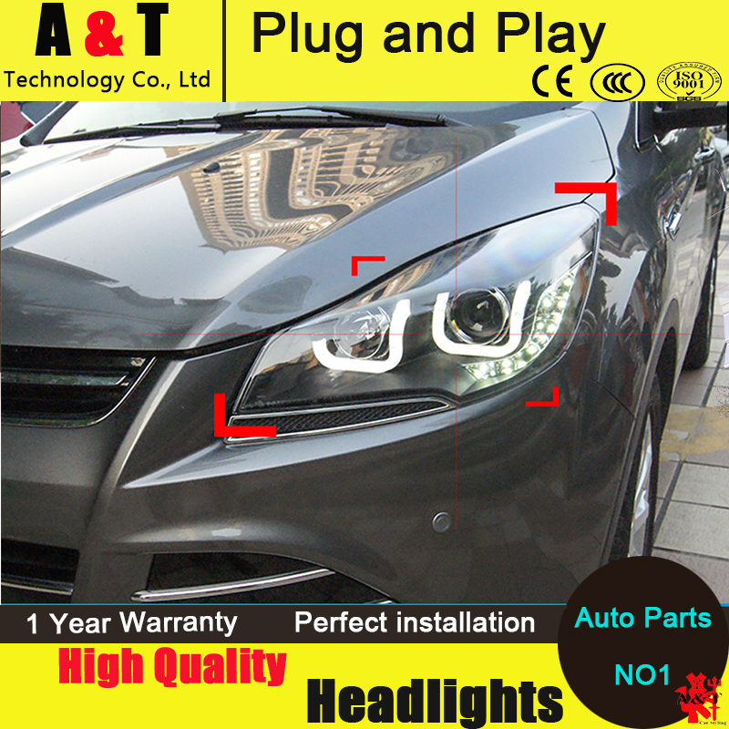 Auto Lighting Style LED Head Lamp for Ford Kuga led headlight assembly 2014 Taiwan Escape angel eye drl H7 with hid kit 2pcs. hireno headlamp for 2013 2015 ford kuga escape se headlight headlight assembly led drl angel lens double beam hid xenon 2pcs