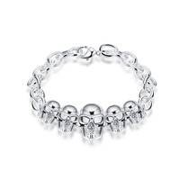 JEEXI New Fashion Style Latest Sterling Silver Skull Bracelet Men Women Black Retro Punk Charm Bracelet